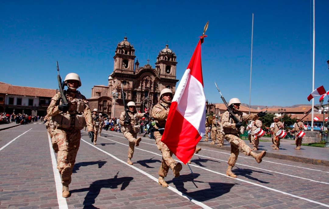 Army parade for the National Holidays in Cusco